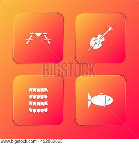 Set Picnic Table With Benches, Violin, Carnival Garland Flags And Fish Icon. Vector