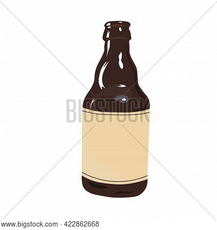 Bottle Of Belgian Ale Vector. Beer. Home Brewing. Isolated On A White Background.