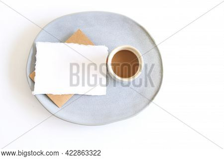 Blank Paper Sheet Card In A Bowl And A Cup Of Coffee. Minimalist Ceramics Set Business Template, Cop
