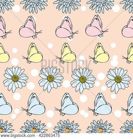 Vector Pastel Pink Background Daisy Flowers, Wild Flowers And Butterflies, Insects. Seamless Pattern