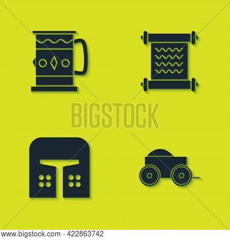 Set Wooden Mug, Four-wheel Cart, Medieval Iron Helmet And Decree, Parchment, Scroll Icon. Vector