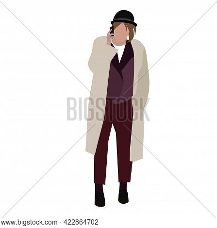 The Belgian In The Hat Cap. A Stylish Man With A Phone In His Hands. A Man In The Autumn Clothes. St