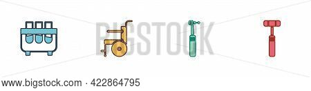 Set Test Tube And Flask, Wheelchair For Disabled Person, Tooth Drill And Neurology Reflex Hammer Ico