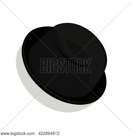 Bowler Hat Vector Stock Illustration. Black Hat Made Of Solid Felt. Classic Headdress Of England And