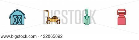 Set Farm House, Lawn Mower, Garden Trowel Spade Or Shovel And Can Container For Milk Icon. Vector