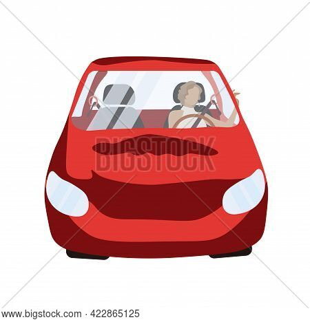 Girl In A Car Vector Stock Illustration. Beautiful Woman Driving A Red Car. Car Loans Test Drive. Dr