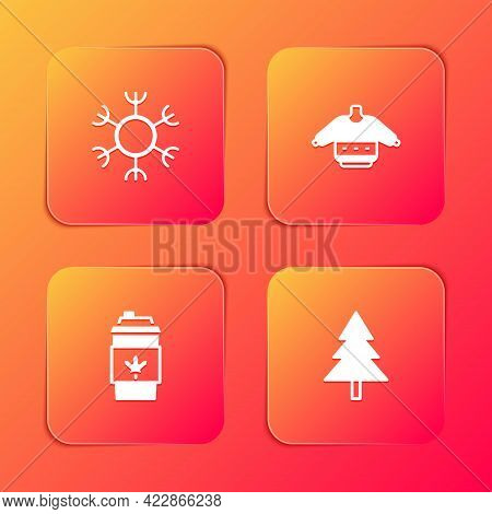 Set Snowflake, Christmas Sweater, Coffee Cup To Go And Tree Icon. Vector