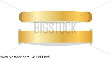 Stitch Thread 3d Set. Gold Sew Seam Isolated White Background. Bright Golden Ribbon Stripe. Embroide