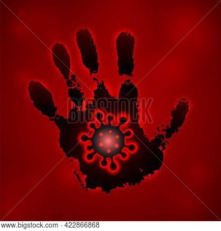 Coronavirus 2019-ncov. Corona Virus 3d Icon. Black Hand Sign Isolated On Red Background. Pathogen Re