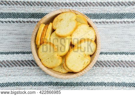 Homemade Croutons From White Bread In Wood Bowl. Flat Lay. Selective Focus