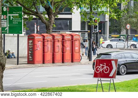 Red Telephone Box, A Telephone Kiosk For A Public Telephone. Uk, London, May 29, 2021