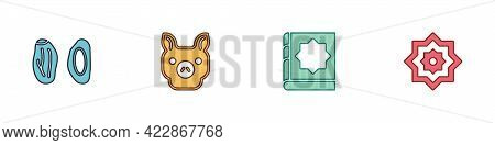 Set Date Fruit, Pig, Holy Book Of Koran And Octagonal Star Icon. Vector