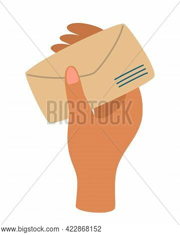Hand Holding An Envelope With A Letter. Mail, Communication And Message Concept. Correspondence Thro