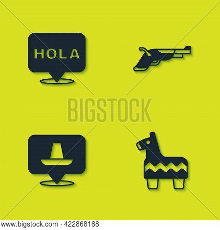 Set Hola, Pinata, Mexican Sombrero And Vintage Pistols Icon. Vector
