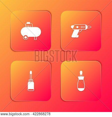Set Air Compressor, Electric Cordless Screwdriver, Screwdriver And Icon. Vector
