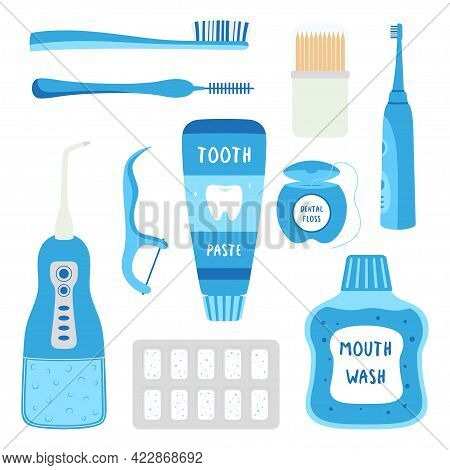 Set Of Cartoon Different Tools For Cleaning Tooth, Various Toothbrushes, Toothpaste, Dental Floss, M