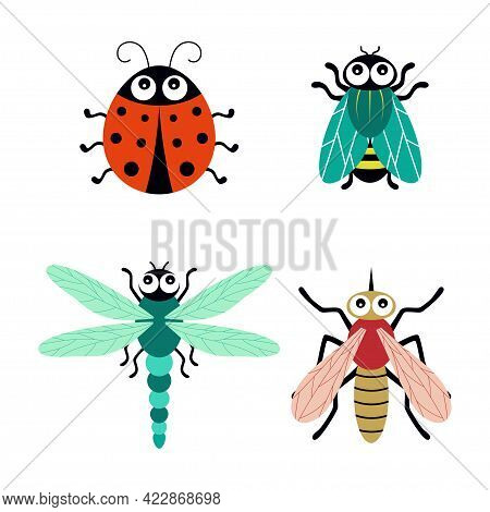 Cute Cartoon Insects, Ladybug, Dragonfly, Mosquito And Fly, Vector Illustration Isolated On White Ba
