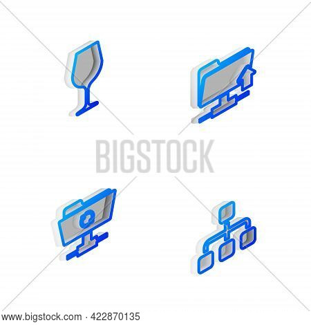 Set Isometric Line Ftp Folder Upload, Wine Glass, Sync Refresh And Hierarchy Organogram Chart Icon.