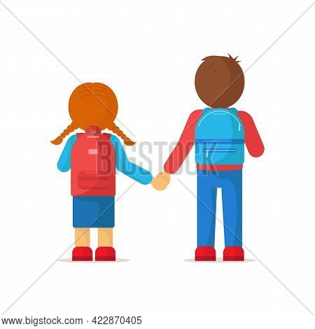 Boy And Girl With Backpacks Hold Hands. Poster With Students, Children, Backpacks. Schoolboys Going