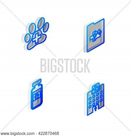 Set Isometric Line Clinical Record Pet, Veterinary Clinic, Pets Vial Medical And Medicine Hospital I