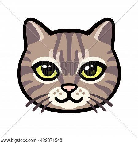 Cartoon Tabby Cat Face Drawing. Cute Striped Kitty Portrait, Vector Clip Art Illustration.