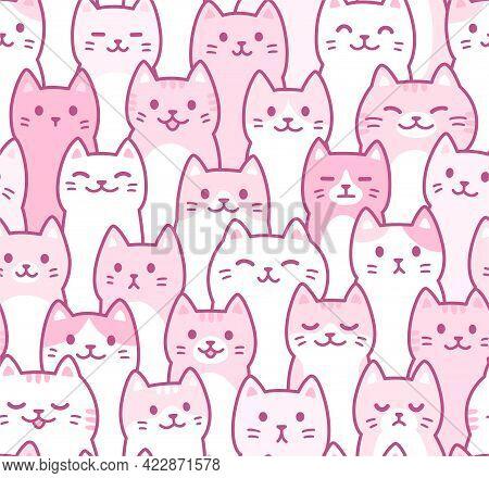 Cute Cartoon Doodle Cats Pattern. Hand Drawn Kawaii Kitty Crowd. Seamless Cat Background, Vector Ill