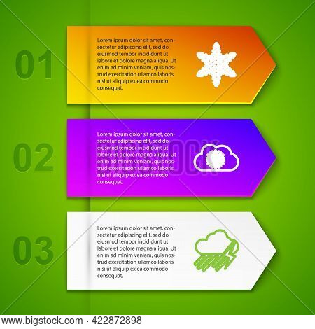 Set Line Snowflake, Cloud With Snow, Rain And Lightning And . Business Infographic Template. Vector