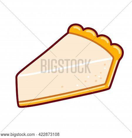 Cartoon Cheesecake Slice Drawing. Isolated Vector Clip Art Illustration.