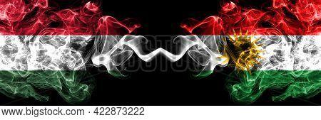 Hungary, Hungarian Vs Kurdistan, Kurdish, Kurds Smoky Flags Side By Side.