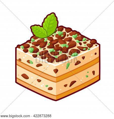 Peppermint Crisp Tart, Traditional South African Dessert. Mint Chocolate Icebox Cake. Cartoon Drawin