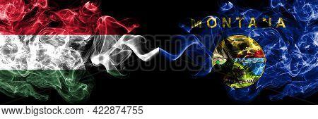 Hungary, Hungarian Vs United States Of America, America, Us, Usa, American, Montana Smoky Flags Side