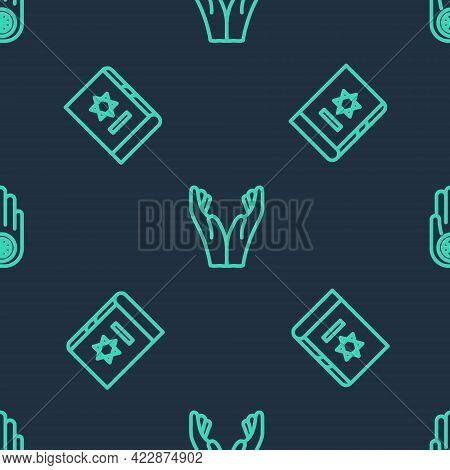Set Line Hands In Praying Position, Jewish Torah Book And Jainism Jain Dharma On Seamless Pattern. V