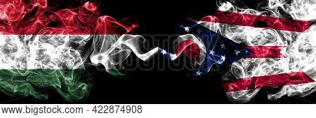 Hungary, Hungarian Vs United States Of America, America, Us, Usa, American, Ohio Smoky Flags Side By