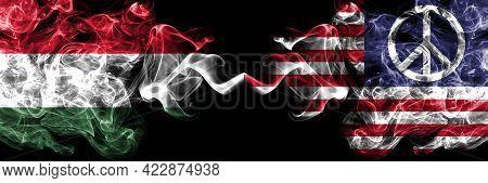 Hungary, Hungarian Vs United States Of America, America, Us, Usa, American, Peace Smoky Flags Side B