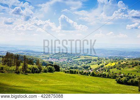 Landscape On Hoherodskopf, Volcano Region In Hesse, Germany. On Cloudy Sunny Warm Summer Day, Meadow