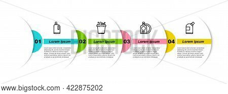 Set Line Fabric Softener, Bucket With Soap Suds, Dishwashing Liquid Bottle And Plate And Bottles For