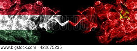 Hungary, Hungarian Vs Ussr, Soviet, Russia, Russian, Communism Smoky Flags Side By Side.