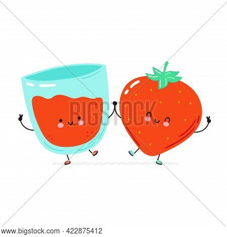 Cute Happy Strawberry And Juice Glass. Isolated On White Background. Vector Cartoon Character Hand D
