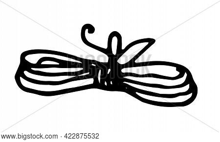 Vector Isolated Skein Of Thread Tied With A Bow In The Middle Hand-drawn In A Doodle Style, Long Thi