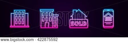 Set Line House, , Hanging Sign With Text Sold And Online Real Estate House. Glowing Neon Icon. Vecto