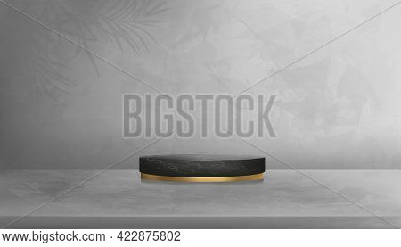 Black Marble Cylinder Poduim In Studio Room With Palm Leaves On Gray Cement Wall Texture Background