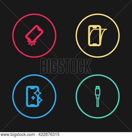 Set Line Glass Screen Protector, Usb Cable Cord, And Shockproof Phone Icon. Vector