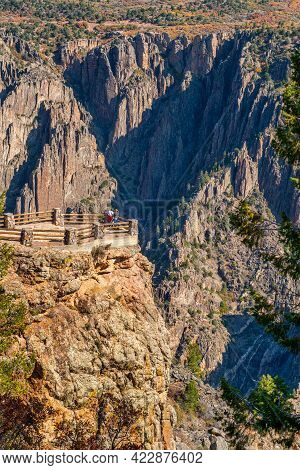 Several People Enjoy An Amazing Sight From One Of The View Points Overlooking The Black Canyon Of Th