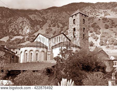 Sepia Image Of Church Of Sant Esteve, Historic Landmark Of The Old Quarter Of Andorra La Vella, Ando