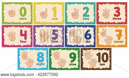 Kids Learning Numbers Flashcards. Finger Counting. Zero To Ten.
