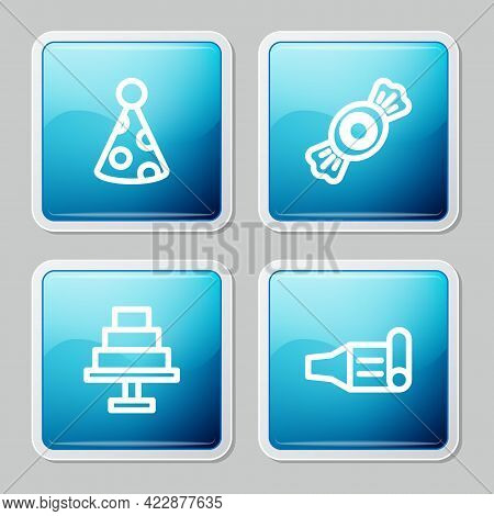 Set Line Party Hat, Candy, Cake And Birthday Party Horn Icon. Vector