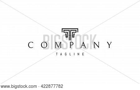 Vector Logo On Which An Abstract Image Of A Greek Column In The Form Of The Letter T.