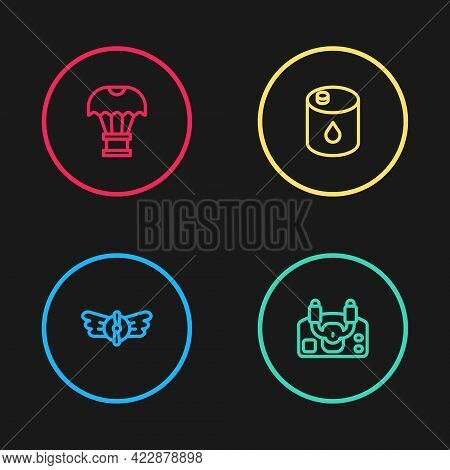 Set Line Aviation Emblem, Aircraft Steering Helm, Barrel Oil And Box Flying Parachute Icon. Vector