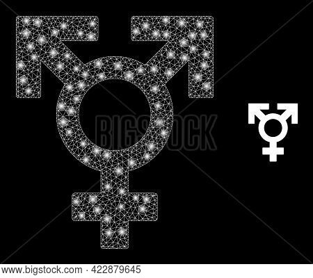Glossy Net Polyandry Sex Symbol With Glowing Spots. Vector Grid Based On Polyandry Sex Symbol Icon.