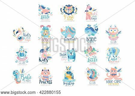 Baby Club Toy Shop Logo Templates Design Set, Kids Club Colorful Labels With Cute Baby Animals Vecto
